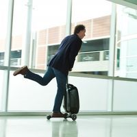 Ride your Luggage through the Airport with a Kickboard.—An idea whose time is yet to come.