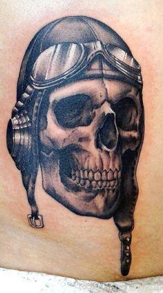 Tatuagem Cranio de Piloto