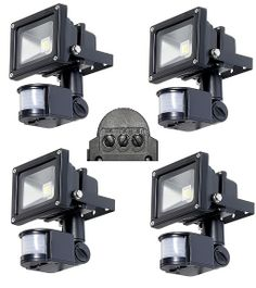 10W LED Fluter Wasserdicht Hellweiß mit Bewegungsmelder. 4 Stück NEU/ Preis pro Stk