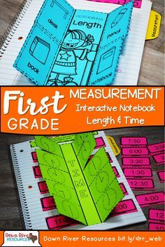 First Grade TEKS Interactive Notebook Measurement contains interactive, hands-on folds and flaps to engage your mathematicians. Students will learn about length and time to the hour and half hour. | Down River Resources | First Grade Math TEKS | Measurement | First Grade Time | Time to the Hour | Time to the Half Hour
