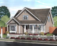 Cottage Style House Plans - 1597 Square Foot Home , 2 Story, 3 Bedroom and 2 Bath, 0 Garage Stalls by Monster House Plans - Plan 11-453