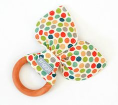 ORGANIC Natural Wooden Teething Ring / Sensory Crinkle Toy, Dottie, Made-to-Order on Etsy, $14.00