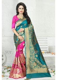KRISHNALIFESTYLE-Pink and Turquoise Color Banarasi Jacquard Saree - krishna175