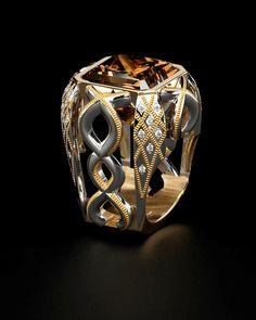 Zoltan David  'Hungarian Rhapsody' Cognac Diamond set in Platinum and 24K Inlay Unique Ring