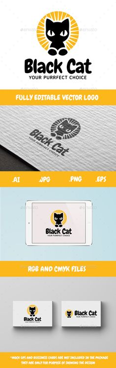 Black Cat #Logo - Animals Logo Templates Download here: https://graphicriver.net/item/black-cat-logo/20106442?ref=alena994
