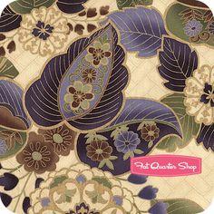 Sayomi Bonsai and Gold Metallic Large Floral Yardage SKU# K7126-433G