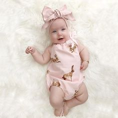 puseky Newborn Baby Girl Cute Rabbit Ears Hoodie Sweatshirt Pants Outfits 2pcs Clothes Set