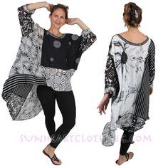 Sunheart Nothing-Matches Hi-low Tunic. Sunheart Goddess Boho Clothing Evening Wear; tops, jackets, coats, skirts, dresses in vintage silks. Santa Barbara, California.