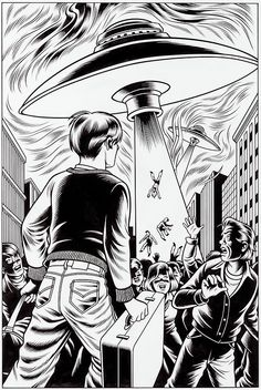 A Slice of Fried Gold - Charles Burns - comics - illustration - art - aliens - UFO! Arte Alien, Alien Art, Comic Books Art, Comic Art, Book Art, Ligne Claire, Aliens And Ufos, Art For Art Sake, Sci Fi Art
