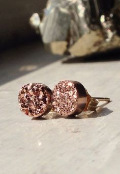 Petite Rose Gold Druzy stud earrings 14K Gold Filled