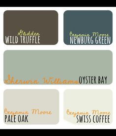 Glidden Wild Truffle for the bedroom Benjamin Moore Newburg Green for the living room Benjamin Moore Pale Oak for the bathroom Benjamin Moore Swiss Coffee for the pantry and closets Sherwin Williams Oyster Bay for the kitchen Room Colors, Wall Colors, House Colors, Interior Paint Colors, Paint Colors For Home, Exterior Colors, Exterior Paint, Ceiling Trim, Oak Trim
