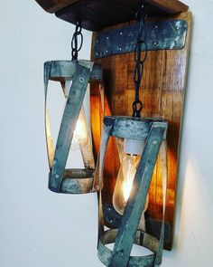 Double pendant wall sconce made entirely from a retired Napa wine barrel!