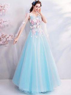 Mesh Embroidery Sashes Deep V Neck Sleeveless Long Wedding Dresses Formal Dresses For Women, Long Wedding Dresses, Prom Dresses, Fairytale Dress, Fairy Dress, Beautiful Long Dresses, Pretty Dresses, Long Dress Design, Fantasy Gowns