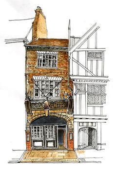The Golden Fleece, Pavement, York colour Colour Architecture, Watercolor Architecture, Brick Architecture, Travel Sketchbook, Art Sketchbook, City Sketch, Building Drawing, Travel Illustration, House Drawing