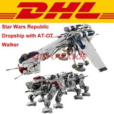 86.85$  Buy now - http://aliky6.worldwells.pw/go.php?t=32785424299 - 2017 DHL LEPIN 05053 Star Wars 1788pcs Republic Dropship with AT-OT Walker Model Building blocks Bricks Clone 10195 Toy Gift 86.85$