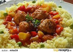 Paprikový lusk plněný houbovou masovou směsí v rajské omáčce Kung Pao Chicken, Pork, Beef, Ethnic Recipes, Red Peppers, Kale Stir Fry, Meat, Pork Chops, Steak