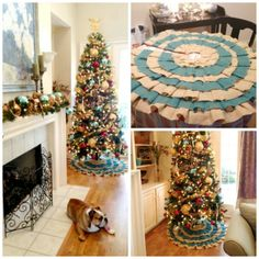 Hmm... switching decor to blues? add some aqua ornaments & make blue and burlap Christmas tree skirt?