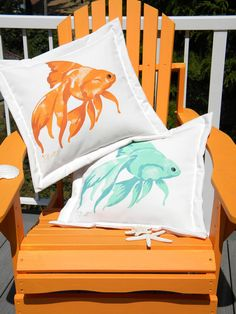 Goldfish pillow painted 20 indoor outdoor all by crabbychris, $41.00