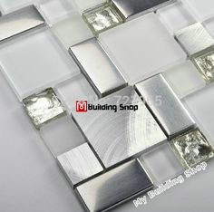 Aliexpress.com : Buy Glass mosaic kitchen backsplash tile SSMT104 silver stainless steel metal mosaics crystal white glass mosaic bathroom wall tiles from Reliable tile tile suppliers on My Building Shop  | Alibaba Group