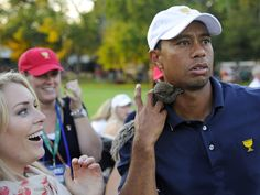 Lindsey Vonn Puts Baby Squirrel on Tiger Woods, Wins Presidents Cup For U. Tiger Woods, Thailand Vacation, Bangkok Thailand, Presidents Cup, Lindsey Vonn, Baby Squirrel, Golf Player, Golf T Shirts, Sports Stars