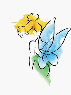 'Watercolor Fairy' Sticker by kimhutton Fairy Paintings, Disney Paintings, Disney Sketches, Disney Drawings, Watercolor Disney, Watercolor Paintings, Fairy Sketch, Character Outline, Disney Stained Glass