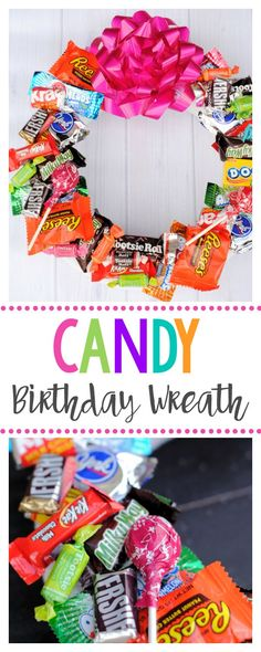 Candy Wreath for Birthdays-A Fun Birthday Gift for Kids or Friends, this candy birthday wreath is easy to make and they make great birthday gifts for anyone! Birthday Gifts For Best Friend, Birthday Gifts For Kids, Best Friend Gifts, Birthday Presents, Coworker Birthday Gifts, Unique Birthday Gifts, Birthday Candy, Birthday Diy, Birthday Ideas