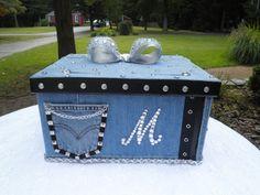 Diamonds and Denim  Wedding CARD BOX Biker by WeddingsofDesign, $80.00