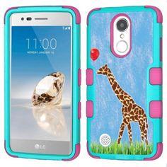 Fit LG Aristo, OneToughShield ® 3-Layer Hybrid Bumper Phone Case (Teal/Pink) for LG Aristo / Phoenix 3 / LV3 / Fortune - Giraffe/Balloon