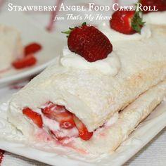 Strawberries and Cream Angel Food Cake Roll - fresh homemade angel food cake with whipped cream and strawberries. Angel Food Cake Roll Recipe, Strawberry Cheesecake Poke Cake Recipe, Cake Roll Recipes, Strawberry Desserts, Dessert Recipes, Strawberry Farm, Cheese Recipes, Poke Cakes, Cupcake Cakes