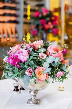 pink and peach wedding flower centerpiece, see more cute ideas at http://www.weddingchicks.com/2013/08/27/modern-london-wedding/