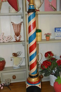 BARBERS POLE COUNTER TOP FREE STANDING VINTAGE/SHABBY CHIC/ PRIMITIVE in Home, Furniture & DIY, Home Decor, Decorative Ornaments & Figures | eBay