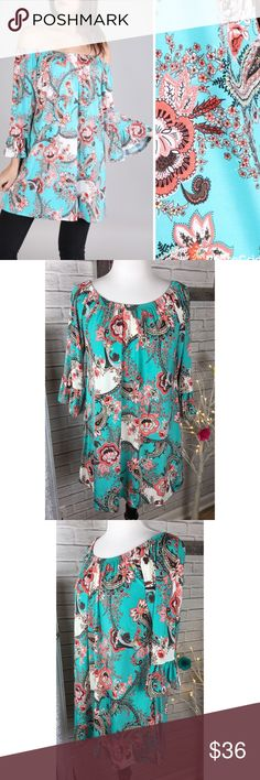 """Paisley & Floral Ruffle Tunic Dress Paisley & Floral Ruffle Tunic Dress Gathered neckline. Wear on or off shoulder. 3/4 sleeves with ruffle trim.  92% polyester, 8% spandex New, never worn, no tags S, bust 20"""" across, 30"""" long M, bust 21"""" across, 30"""" long L, bust 22"""" across, 31"""" long ‼️PRICE FIRM UNLESS BUNDLED‼️ Create a bundle for 15% off! Thanks for looking✌️❌NO TRADES❌ Hourglass Lady Tops Tunics"""