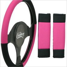 Pink & Black steering wheel cover and seat belt shoulder pads from CarDecor.com.