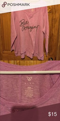 """Light Pink Lane Bryant Livi Brand Workout Shirt Light pink workout shirt with """"Amazing"""" on the front. Super soft with a comfy fit. Super cute with leggings! NWOT Lane Bryant Livi Tops Tees - Long Sleeve"""