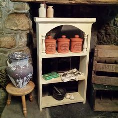Rustic pine shelves, painted with Annie Sloan Cream Chalk Paint. Lightly distressed and clear waxed. Use on wall or free standing. #misselaineous #anniesloan #chalkpaint #morethanpaint #reloved #cream #clearwax #distressed #rustic #rusticcountry #pine #farmhouse #kitchen #shelves #terracotta #tea #coffee #sugar #canisters #primitive #ascp
