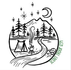 Tent Drawing, Camping Drawing, Wood Tattoo, Stone Tattoo, Mountain Illustration, Forest Illustration, Girl Scout Leader, Girl Scout Troop, Camping Tattoo