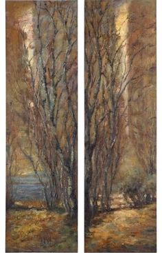 $438. Could go good with sunset. -   Uttermost 32147 Tree Panels - Set of 2 Brown Green Rust Home Decor Wall Decor Paintings