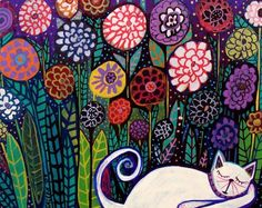 """White Cat"" art print poster by Heather Geller"
