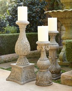 Cast-Stone Outdoor Candlesticks by GG Collection at Horchow.  Now these look Tuscan! I need these for my patio. (smile)