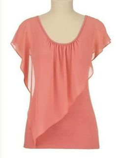 Flutter Sleeve Chiffon Overlay Tee from maurices. Shop more products from maurices on Wanelo. Blouse Patterns, Blouse Designs, Sewing Blouses, Blouse Styles, Designer Dresses, Fashion Dresses, Tunic Tops, Plus Size, Couture