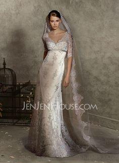 Wedding Dresses - $221.99 - Sexy Empire V-neck Sweep Train Satin Tulle Wedding Dress With Lace Sashes Beadwork (002004151) jenjenhouse.com