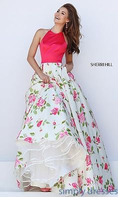 Floral Print Ball Gown by Sherri Hill with Pockets