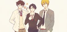 Oikawa (from Haikyuu), Kashima (from Gekkan Shoujo Nozaki-kun) and Kise (from Kuroko no Basket)
