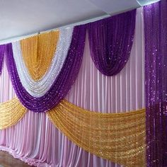 Church Altar Decorations, Stage Decorations, Wedding Decorations, Pipe And Drape Backdrop, Wedding Draping, Brunch Decor, Church Stage Design, Silk Material, Purple Wedding