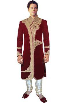 INMONARCH Mens Traditional Velvet Wedding Maroon Sherwani SH423 at Amazon Men's Clothing store:
