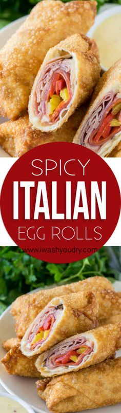 These Spicy Italian Egg Rolls have all the flavors of your favorite sub sandwich packed inside a deep fried egg roll Serve this tasty appetizer with a side of creamy italian dressing and you ll be in heaven Yummy Appetizers, Appetizer Recipes, Italian Appetizers, Italian Eggs, Italian Rolls, Egg Roll Recipes, Sandwich Recipes, Fingerfood Party, Wrap
