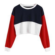 Contrast Crop Sweatshirt ($30) ❤ liked on Polyvore featuring tops, hoodies, sweatshirts, zaful, white top, white sweatshirt, crop tops, cropped sweatshirts and white cropped sweatshirt