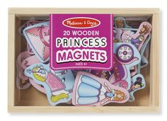 Easy to position and reposition again and again on any magnetic surface, these 20 wooden magnets offer endless creative princess-themed play opportunities--all while improving hand-eye coordination and fine motor skills! Convenient wooden storage case keeps everything neatly stowed away after playtime. These colorful magnets with regal details like gowns and crowns are great for matching, sorting, and storytelling.
