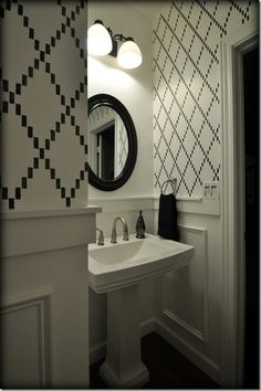 Nova Trellis wall stencil from Decor and the Dog. Ultra White by Valspar. Black Leather by Dutch Boy.