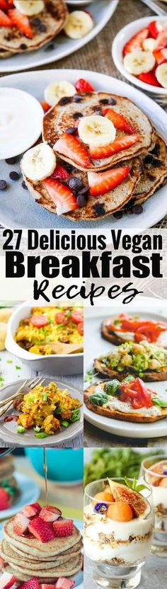 If you're looking for vegan breakfast recipes, this is the right post for you! This roundup includes sweet and savory breakfast recipes! You can find vegan pancakes, tofu scramble, vegan muffins, overnight oats, and so much more! #vegan #veganbreakfast #breakfast